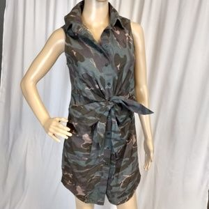 Moda International Tie Front Camouflage ShirtDress